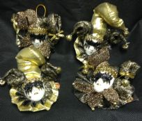 Set of 4 Jester Masquerade Wall or Tree Hanging  ~ BLACK / GOLD